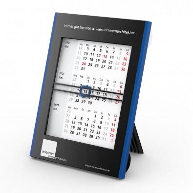 2-Jahres-Tisch-Drehkalender 2021, Schwarz/Blau