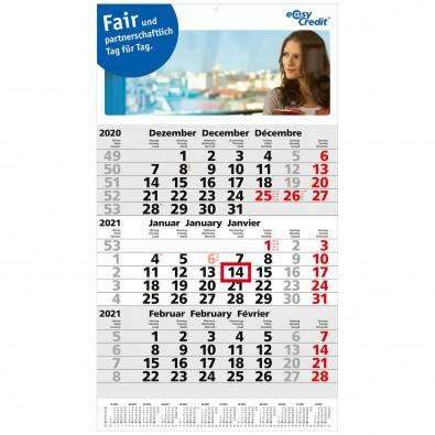 3-Monats-Wandkalender Post 2020, B4-faltbar
