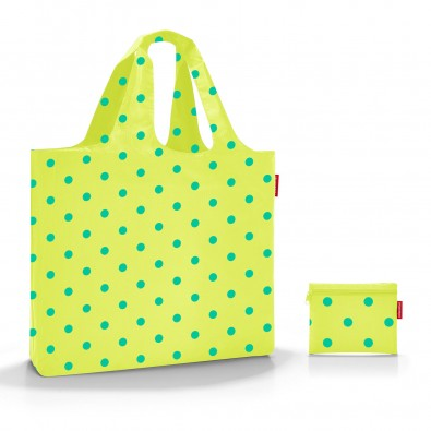mini maxi beachbag lemon dots, grün