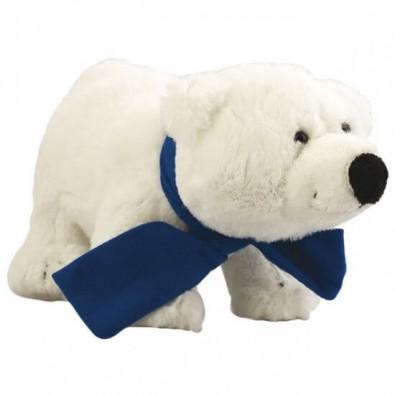 Softplüsch-Eisbär Freddy, mit Schal Blau