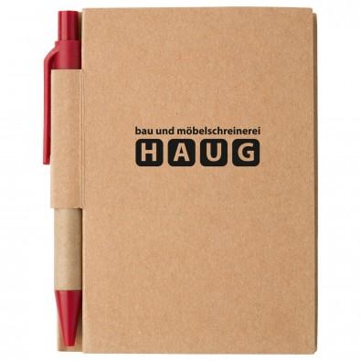 Notizbuch mit Kugelschreiber Mini, Natur/Rot