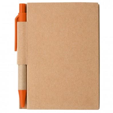 Notizbuch mit Kugelschreiber Mini Natur/Orange