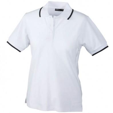 Original James & Nicholson Polo-Piqué für Damen Weiß/Navy | S
