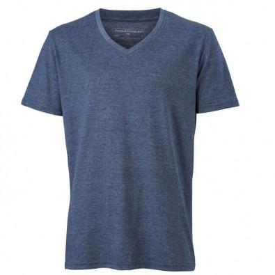 Original James  Nicholson V-Neck T-Shirt für Herren, Blau/Melange, L