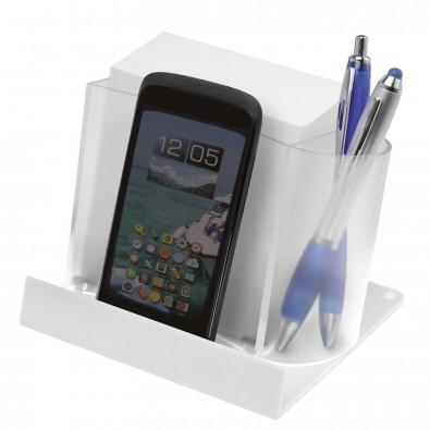 smartphone tabletst nder mit zettelbox transp weiss. Black Bedroom Furniture Sets. Home Design Ideas