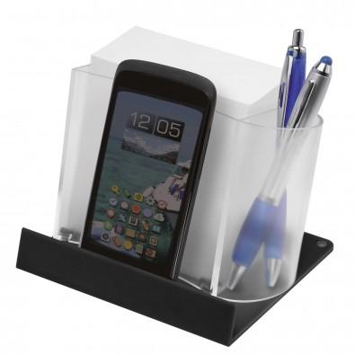 Smartphone-/Tabletständer mit Zettelbox, Transparent/Schwarz