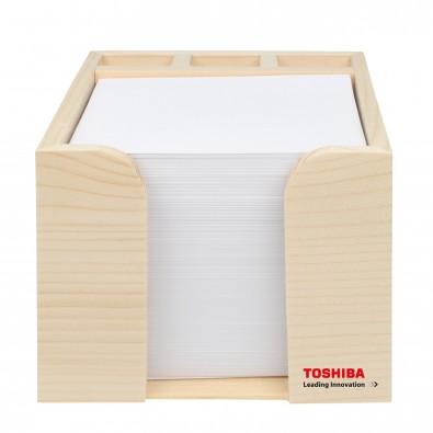 Holz-Zettelbox mit Köcher