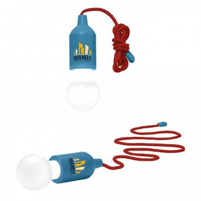 LED-Lampe Lightbulb, Hellblau (rote Schnur)