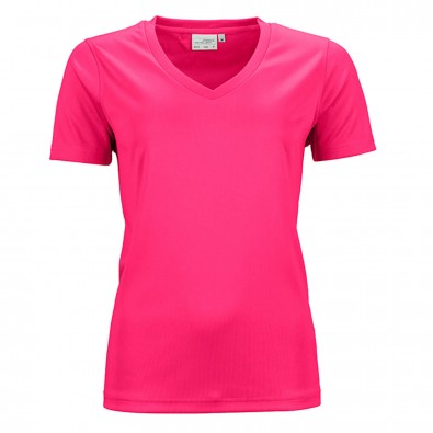 Original James  Nicholson Damen Funktions T-Shirt Active, Pink, XS