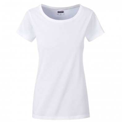 Original James  Nicholson Damen Basic T-Shirt aus Bio-Baumwolle, White, XS