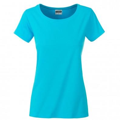 Original James  Nicholson Damen Basic T-Shirt aus Bio-Baumwolle, Turquoise, L