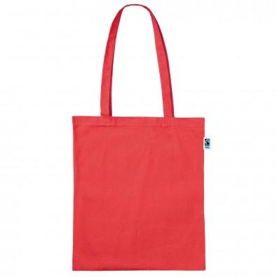 Fairtrade Baumwolltasche rot, Lange Henkel
