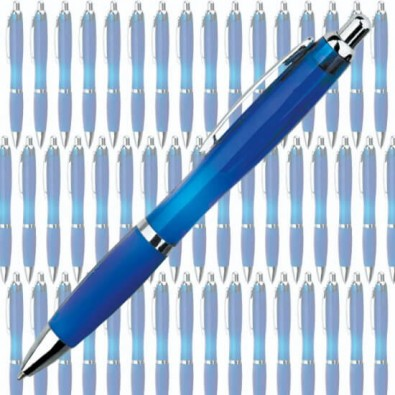 Werbe-Set: 400 Kugelschreiber Rio transparent, Blau/Transparent