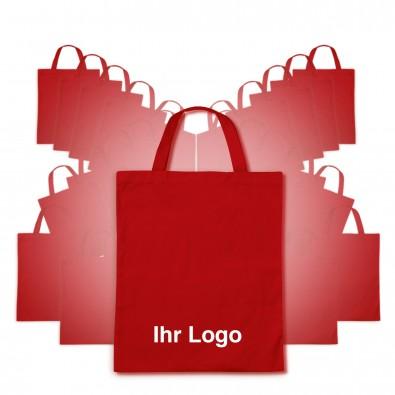 Baumwolltaschen-Werbe-Sparset, kurze Henkel, 100-teilig, Rot, Inkl. Druck
