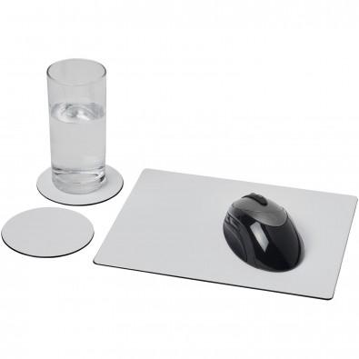 Brite-Mat® Mousepad- und Untersetzer-Set 2, schwarz