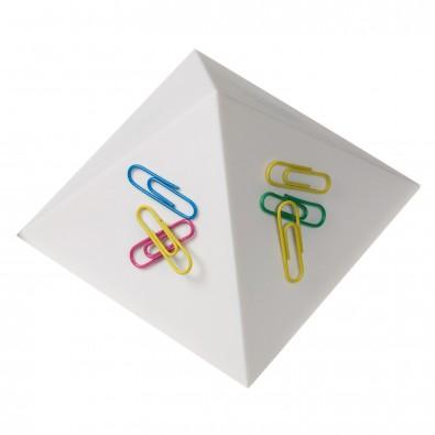 Büroklammernhalter Magnet-Pyramide, weiß