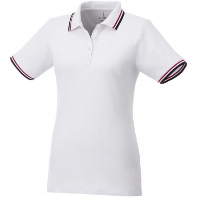 ELEVATE Damen Poloshirt Fairfield mit weißem Rand, weiß,dunkelblau,rot, L