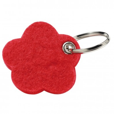 "Filz-Schlüsselanhänger ""Motiv Blume"", rot"