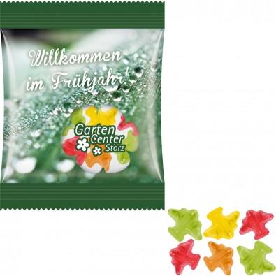 "Fruchtgummi Minitüte 10g, ""Flugzeug"", inkl. Druck, kompostierbare Folie, transparent"