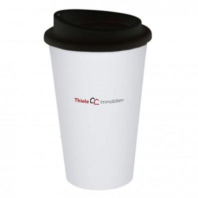 """Kaffeebecher """"Premium"""", weiß/schwarz"""