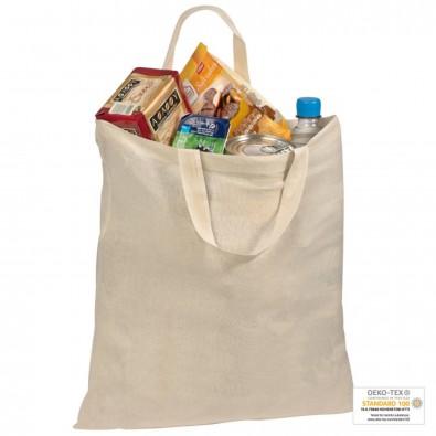 Naturfarbene Oeko-Tex® STANDARD 100 Baumwolltasche mit kurzen Henkeln, beige