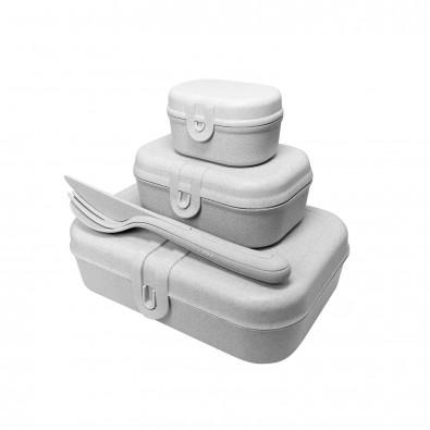 koziol Lunchbox-Set Pascal Ready mit KLIKK-Besteck, grau
