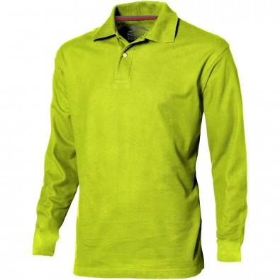 Point langärmliges Poloshirt für Herren, apfelgrün, S