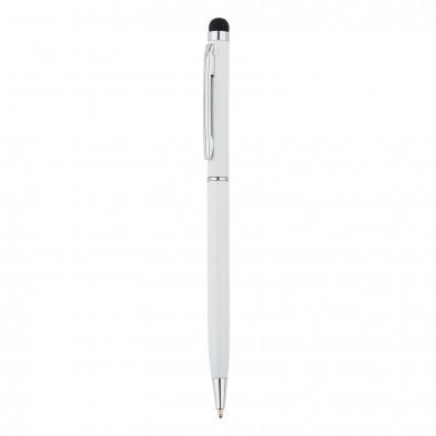 Schlanker Aluminiumkugelschreiber mit Stylus, weiß