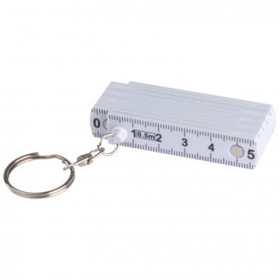 Schlüsselanhänger mit ausklappbarem Zollstock, weiss
