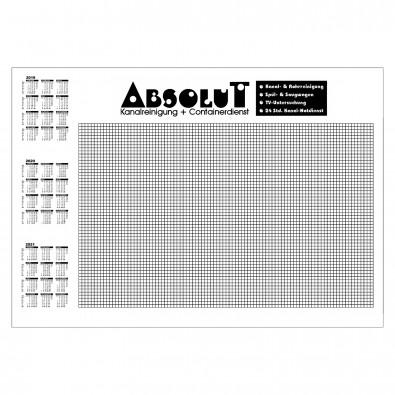 Schreibunterlage, mit Kalender und kariert, inkl. 1-farbigem Druck