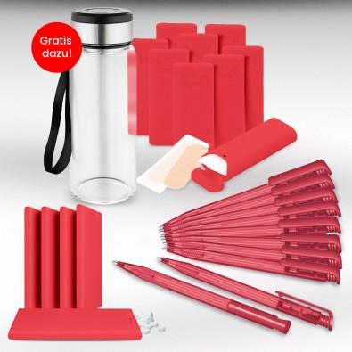 Werbe-Sparset  Made in Germany, 301-teilig, rot-gefrostet, inkl. Druck