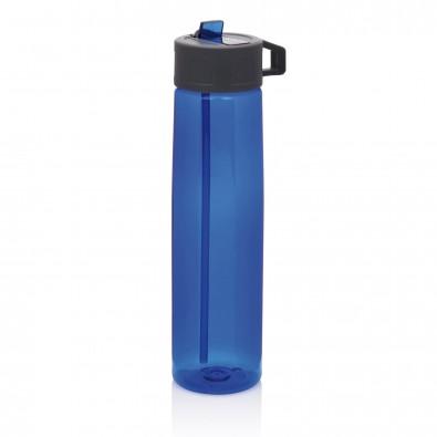 Tritan Trinkflasche mit Strohhalm, blau,grau