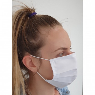 Gesichtsmaske für Mund-Nasenabdeckung, Textil weiß, einlagig