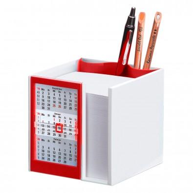 Zettelbox mit 2-Jahres-Kalender für 2021/2022, Weiß/Rot