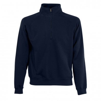 Original Fruit of the Loom® Zip-Neck-Sweat, Deep Navy, M